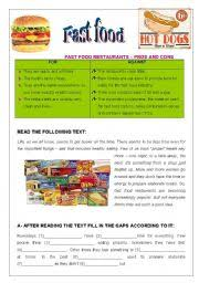 fast food   pros amp cons comprehension and essay  pages