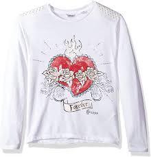 Guess <b>Girls</b>' Long Sleeve Embellished <b>Heart T</b>-<b>Shirt</b>, True White, 18 ...