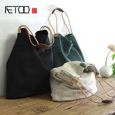 AETOO Large capacity <b>canvas bag retro</b> art single <b>shoulder bag</b> ...