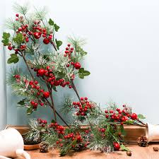 <b>1PC</b> Vivid Red Artificial Snow Flowers <b>Christmas</b> Fruit <b>Berries</b> Beans ...