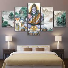 Room Wall Art Pictures Decor 5 Pieces HD <b>Printing</b> Hindu God <b>Lord</b> ...