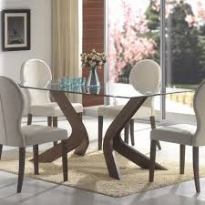 kitchen pedestal dining table set: dining room curving brown wooden legs feat rectangle glass top table plus white chairs having