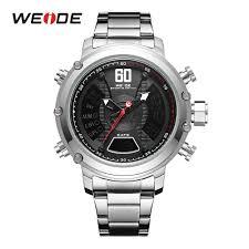 <b>WEIDE Men Military</b> Stainless Steel Band Quartz Wristwatches ...