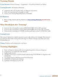 sap business objects bo bi amron pdf access to the training blog repository of materials pre requisites basics of sql