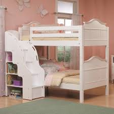 feminine bedroom furniture bed: cozy white bunk beds with stairs and beige