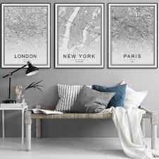 <b>Black</b> and <b>White World City</b> Map Print – Citrus Comet