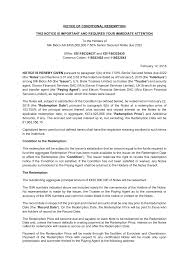NOTICE OF CONDITIONAL <b>REDEMPTION THIS</b> NOTICE IS ...