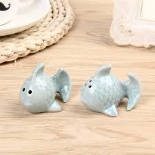 Новинка, 1 пара Симпатичные в форме рыбы Керамика бутылка ...