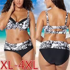 Plus Size Swimwear Black White Women Floral <b>Printed Push Up</b> ...
