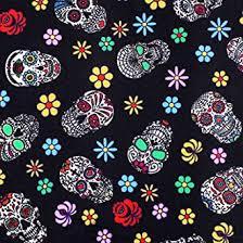 2 Pieces <b>Sugar Skull</b> Fabric 1 Yard Skull <b>Pattern Halloween</b> ...