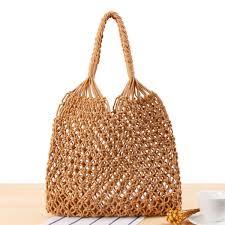 <b>JULY'S SONG</b> Fashion Hollow Bag Woven Net Beach Bag <b>Large</b> ...