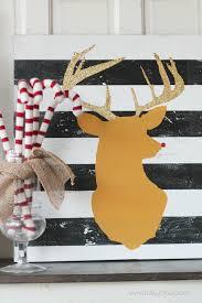 glitter antler <b>reindeer head art</b>
