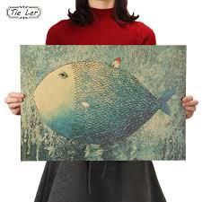 TIE LER Big <b>Fish Small</b> House <b>Kraft</b> Paper Poster Children Bedroom ...