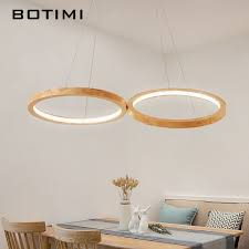 <b>BOTIMI</b> Wooden <b>LED Pendant Lights</b> For Dining Room 2 Round ...