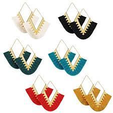 ATIMIGO 6 Pairs Colorful Statement Tassel Earrings, <b>Handmade</b> ...