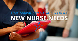 time management skills for new nurses a new nurse looking at her charts and managing her schedule