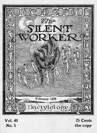the hand of the silent worker reading an asl imageword image showing a large upraised hand a ring of women dancing around it