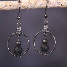 <b>Lava</b> Stone and Hematite Earrings | Essential oil diffuser jewelry ...