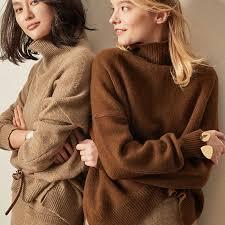 Women's Cashmere Suit <b>2019 Autumn Winter Turtleneck</b> Cashmere ...