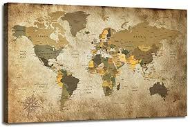 Canvas <b>Wall Art</b> World Map Poster Nautical Decor <b>Modern</b> Framed ...