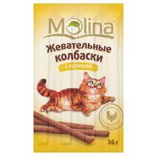 <b>Лакомство для кошек Molina</b> Жевательные колбаски с курицей ...