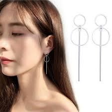 Circle Long Earrings Korean Style Female <b>Simple Geometric Silver</b> ...