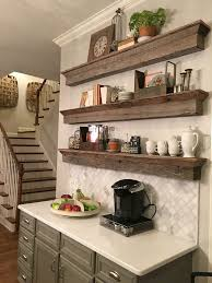 floating barnwood shelves coffee bar area a great solution to a tradition cabinet barn wood ideas