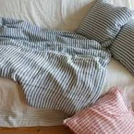Softened heavy linen bedding set striped | Linen duvet cover, 2 ...