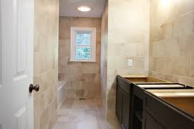 flooring magnificent narrow bathroom floor plans using stained ceramic tile and white trim windows alongside plywood bathroom recessed lighting ideas espresso