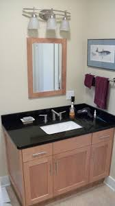 bathroom vanity uk company countertop combination: powder room design ideas with black wooden bath vanity using gray granite countertop and round combo