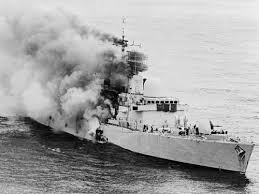 HMS Sheffield burns after being hit by an Exocet missile
