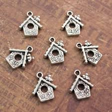 10 <b>Bird House</b> Charms Birdcage <b>Pendants</b> Antiqued Silver Tone 14 ...