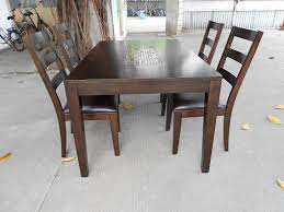 real rustic kitchen table long:  concrete flooring design feat trendy ladder back leather chairs also elegant black wood kitchen table