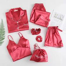 Women's pajamas with chest pad <b>solid</b> color <b>seven piece</b> suit ...