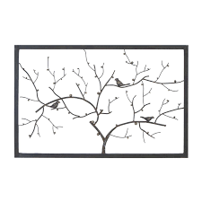 tree scene metal wall art: woodland imports modern bird and tree metal wall art