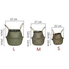 Handmade <b>Seagrass Storage Baskets Foldable</b> Woven Storage Pot ...