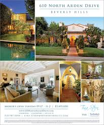 realestate open house invitation postcard ink and paper ad design for exclusive broker s open house mitzi gaynor s 610 north arden drive in beverly