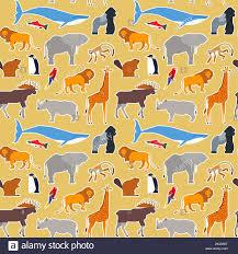 <b>Animal</b> seamless <b>pattern</b> of diverse wild <b>animals cartoon</b> icons for ...