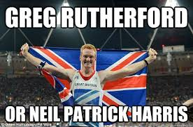 NPH disguised as Greg Rutherford memes | quickmeme via Relatably.com