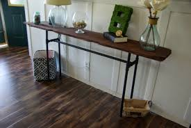 narrow industrial distressed console table made from reclaimed solid wood and black metal pipe legs ideas antiquing wood furniture