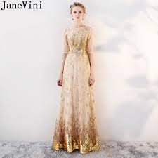JaneVini Shinning <b>Gold Sequins Long Bridesmaids</b> Dresses With ...