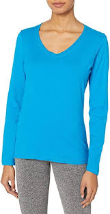 Hanes Women's <b>V</b>-<b>Neck Long Sleeve</b> Tee at Amazon Women's ...