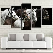 HD Print Painting <b>5 Pieces</b> Black and Brown Horse Race Poster ...
