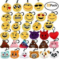 Encheng 32 Pack <b>Emoji</b> Party Favors <b>Emoji</b> Plush <b>Keychain Emoji</b> ...