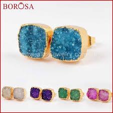 BOROSA 1 Pair Gold <b>Color</b> Square Natural <b>Crystal</b> Druzy Geode ...