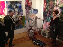 art artist spencer tunick and art founder heather zises at joseph arthur s opening emblematic