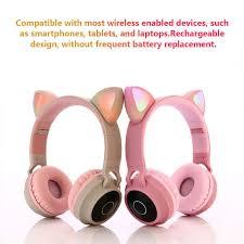 Online Shop <b>Bluetooth Headphones</b> Stereo Cute <b>Cat Ear</b> Earphone ...