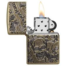<b>Зажигалка</b> Armor™ Freedom Skull <b>Antique Brass</b>™ Zippo 49035 ...
