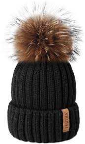 FURTALK Winter Knit <b>Hat</b> Detachable <b>Real</b> Raccoon <b>Fur Pom Pom</b>