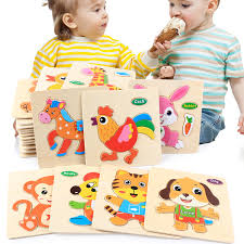 <b>3D Wooden Puzzle Jigsaw</b> Toys For Children Cartoon Animal ...